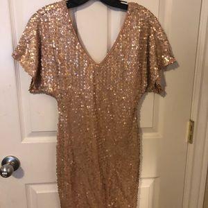 tan sequin short dress